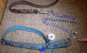 All that's needed is the double bolt snap to connect your dog's collar to the end of the choke chain.